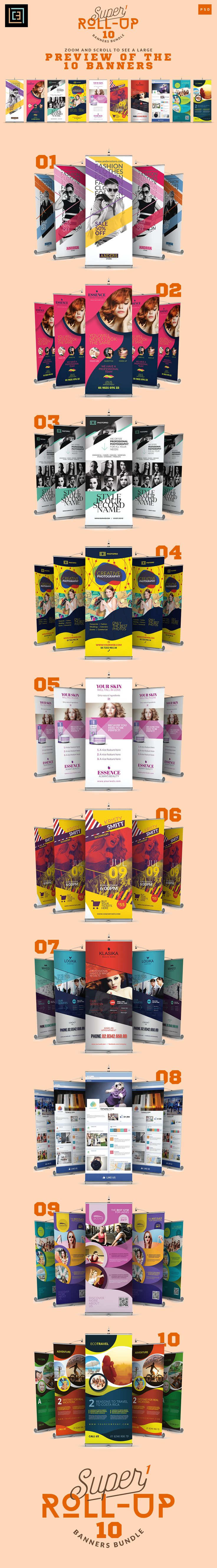 Super 1 - Roll-Up Banners Bundle by Cooledition on @creativemarket