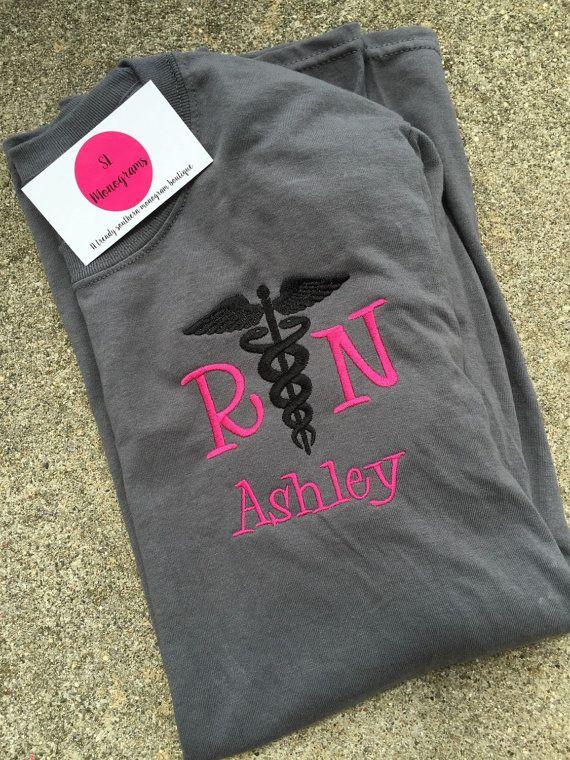new long sleeve monogram caduceus nurse shirt