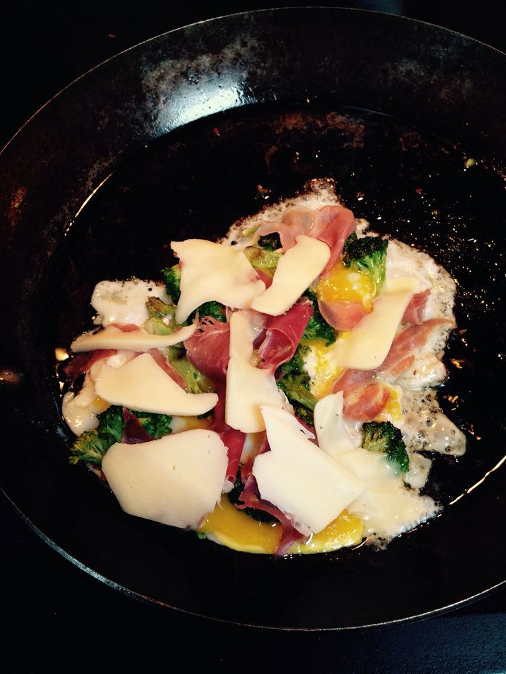 Atkins breakfast phase 1- eggs, broccoli, prosciutto and cheese.