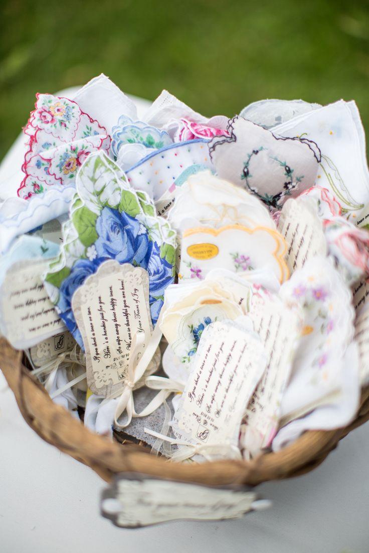 Happy Tears Hankies | See the wedding on SMP: http://www.StyleMePretty.com/illinois-weddings/2014/01/24/blush-pink-farm-wedding/ J Elizabeth Photography