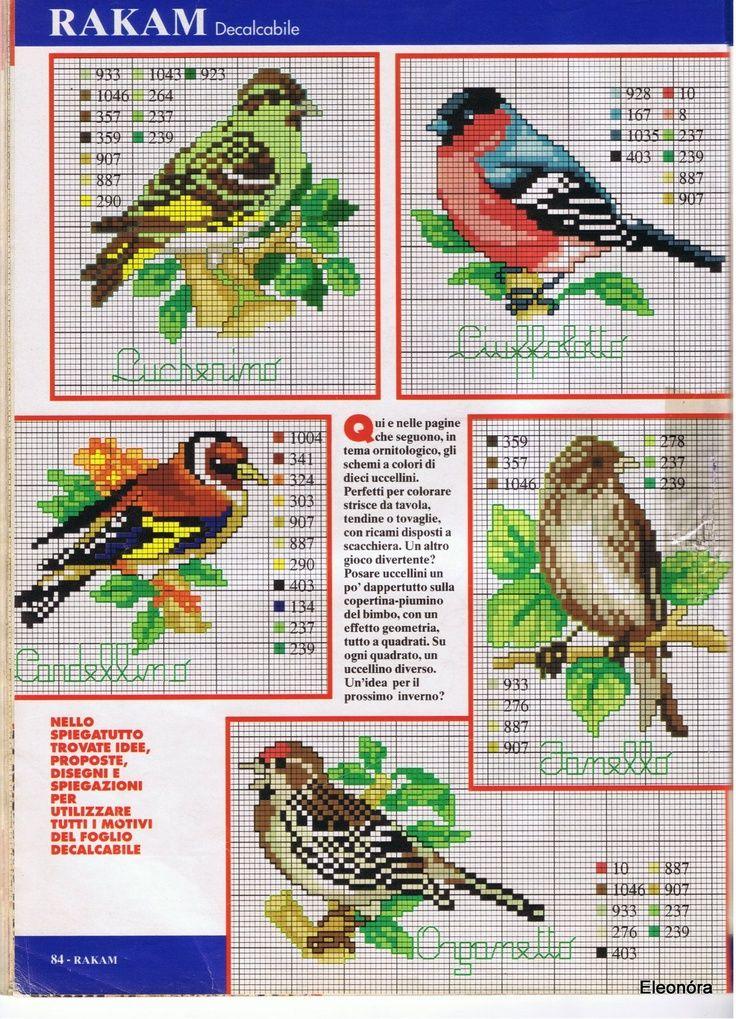 Patrones pájaros punto de cruz