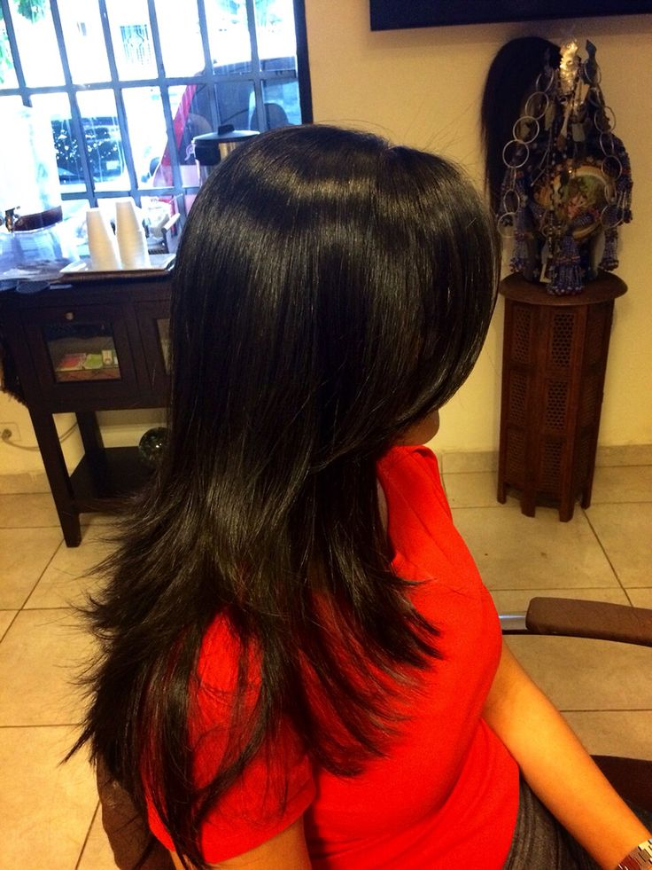 lavado y secado de cabello liso