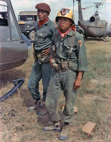 This most popular—and most faked—painted helmet of the Vietnam War is probably the ARVN Ranger helmet. Whereas an original helmet would be a collection centerpiece, original photos of soldiers wearing the helmets provide the collector with a relatively safe alternative to the risk involved in acquiring an actual painted helmet.