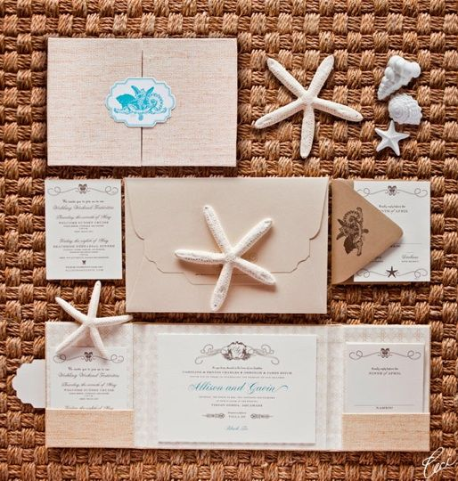 What about these beachy invites? { CeCi New York }  http://modernweddingshawaii.com/jet-setters/