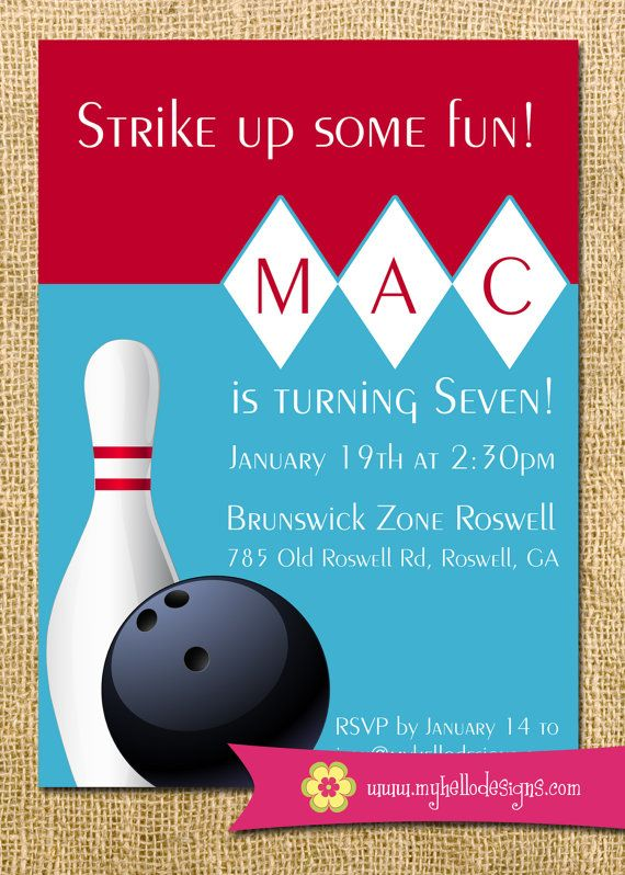 76 best Kids bowling birthday party images on Pinterest - bowling invitation