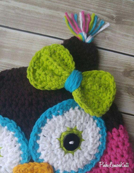 Owl hat crochet owl hat girl winter hat knit by PinkLemonKnits