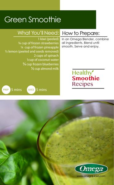 healthy smoothie recipe 4 with omega juicers green smoothie http - Omega Juicers