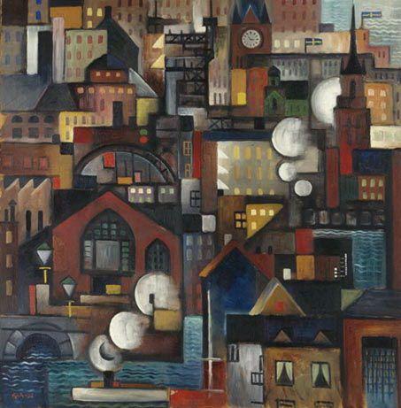 Stockholm från ateljén - Gosta Adrian-Nilsson Artist: Gosta Adrian-Nilsson Completion Date: 1919 Style: Cubo-Futurism Genre: landscape