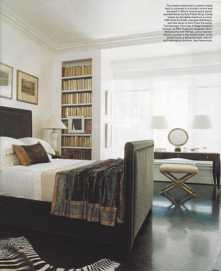Custom made bed covered in mohair velvet