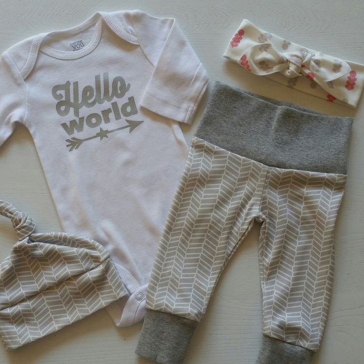 Neutral Bring Home Outfit. Hello World. Leggings. Top Knot Hat & Headband Options. Gender Neutral Take Home Baby Outfit. Coming Home Outfit. by mainegirlcreations on Etsy https://www.etsy.com/listing/397866569/neutral-bring-home-outfit-hello-world