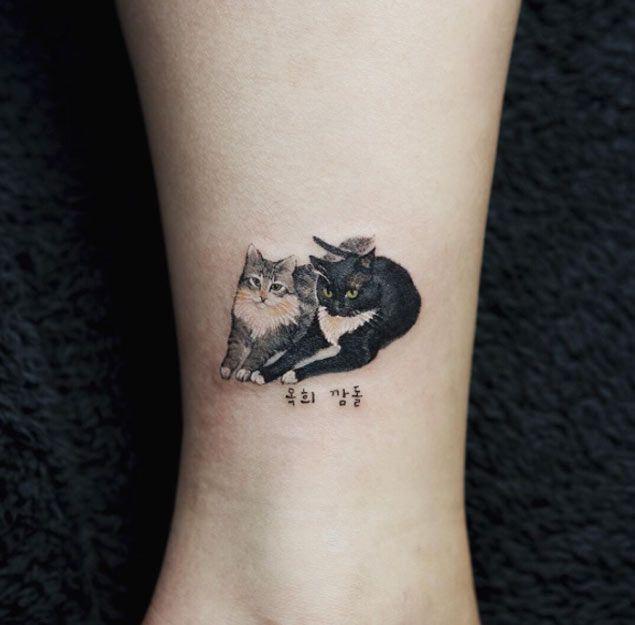 Cats pequena tatuagem de Sol Art