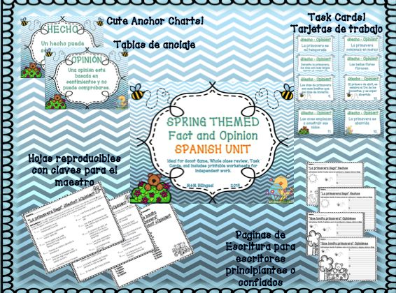 IN SPANISH!!!! Cute, fun way to review fact and opinion before spring state testing. Students will enjoy the task cards, printables, and writing activities. Ready to PRINT and GO! Check it out here: http://www.teacherspayteachers.com/Product/Spring-Fact-and-Opinion-Spanish-Unit-1201598