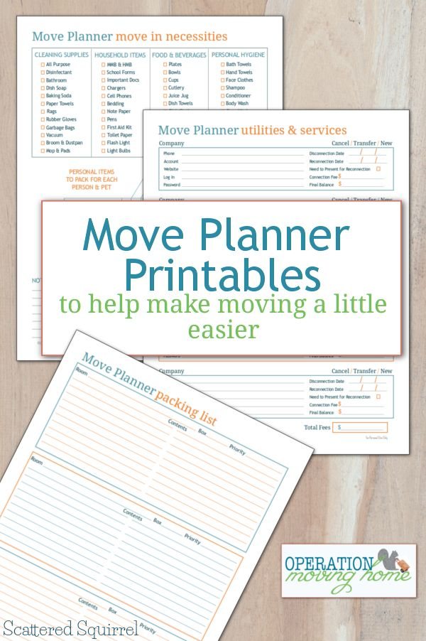 Make Moving a Little Easier with Move Planner Printables The move planner printables will help you keep track of your packing, your move-in necessities and what services and utilities you need to move, close or set up.