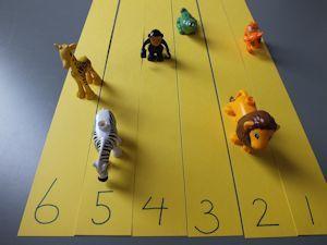 renbaan met dieren + dobbelsteen (aantal stippen naar voor)