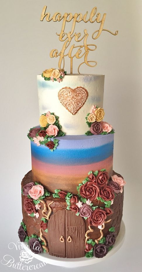 """""""Happily Ever After"""" - Watercolour Buttercream, hand piped Buttercream Roses, and modelling chocolate accents, by Kerri Wyer"""