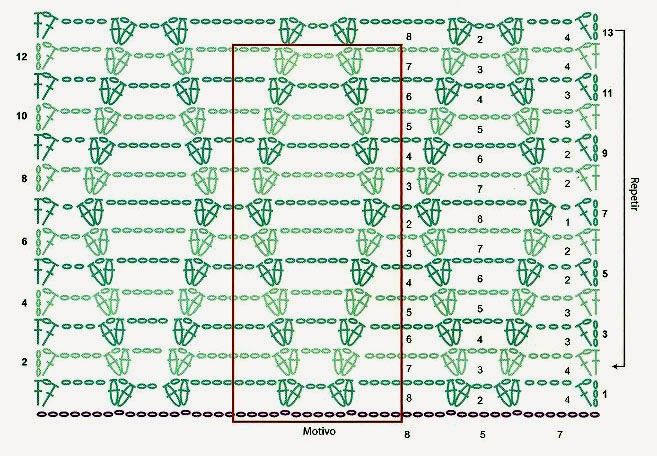 Con un motivo muy sencillo de lineas que van tomando forma y movimiento en la trama.         MATERIALES: 350 gramos de algodón y seda verde...