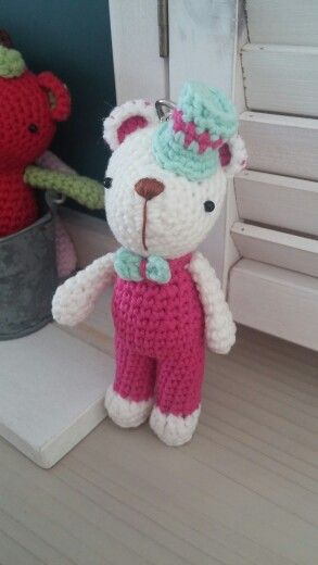 Crochet  mini bear keyholder crochet  dolls  Design   by 안지숙