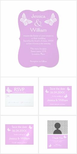 Lilac And White Butterfly Wedding Set #wedding #lilac #purple #violet #butterfly