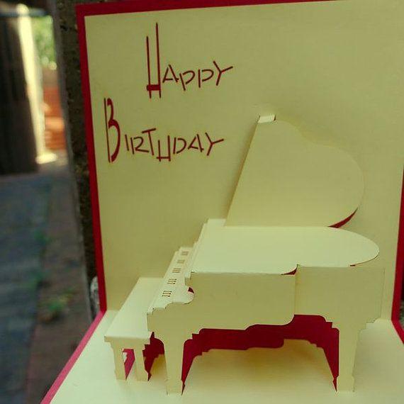 Birthday pianoPOP UP CARD van Bielyse op Etsy