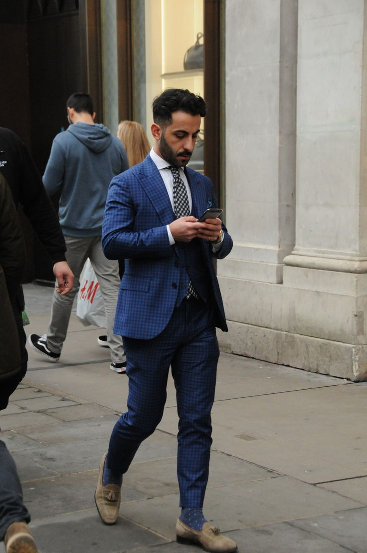 Taken on Regent Street. Cool Blue check suit with polka dot tie. Short guy rocking a suit well. #streetstyle