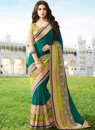 Teal Embroidery Lace Border Work Moti Work Georgette Party Wear Designer Sarees  http://www.angelnx.com/Sarees