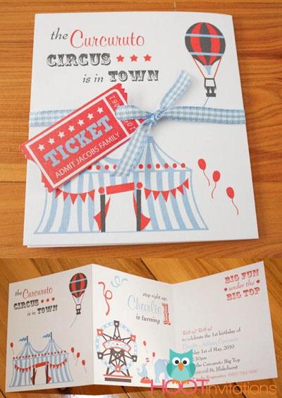Circus Party Invitation from www.hootinvitations.com.au  #circusparty  #circustheme