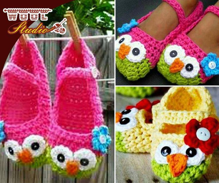 These Crochet Owl Mary Jane Slippers are button cute and you won't be able to wait to make them! For full pattern - click here: http://ablog.link/5Gc. Remember to pop at #WoolStudio for our latest #yarn. #Owls #Crochet
