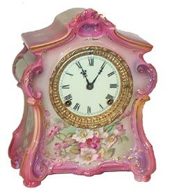 "Antique Porcelain Ansonia ""La Fontaine"" Clock. ca.1904."