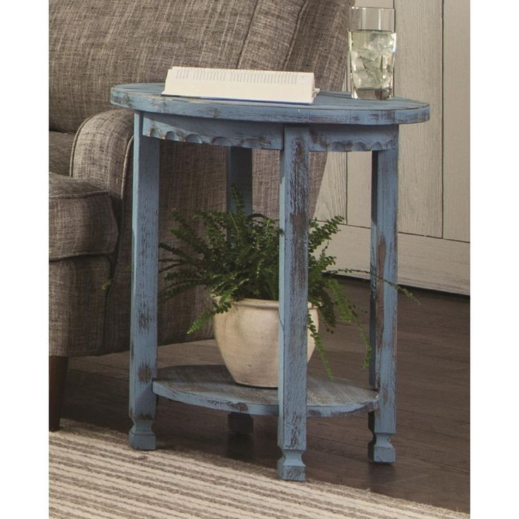 Country Cottage Blue Antique Round End Table