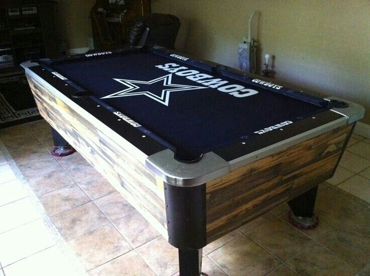 Dallas Cowboys Pool Table; with Silver on the rails and the Cowboys billiards balls!