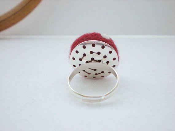 Polka Dot Rings Felt Mushroom Ring Any Colour by RebeccasEmporium