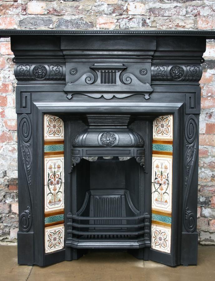 Antique Edwardian cast iron tiled combination fireplace
