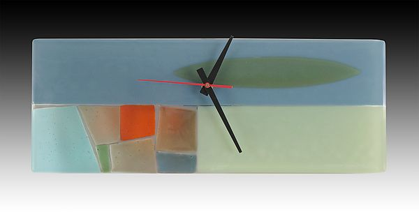 Midcentury Pastel Fused Glass Clock by Nina Cambron: Art Glass Clock available at www.artfulhome.com