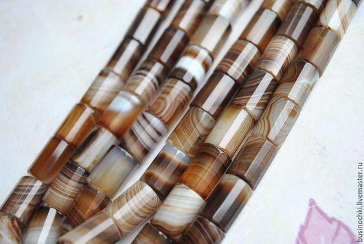 Для украшений ручной работы. Ярмарка Мастеров - ручная работа. Купить Бразильский агат бусины цилиндры 14 х 10 мм. Handmade.