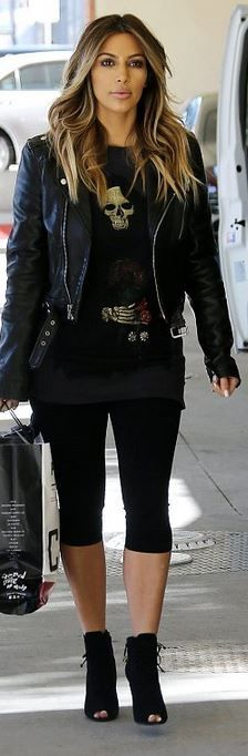 Kim Kardashian's black leather jacket and ankle boots