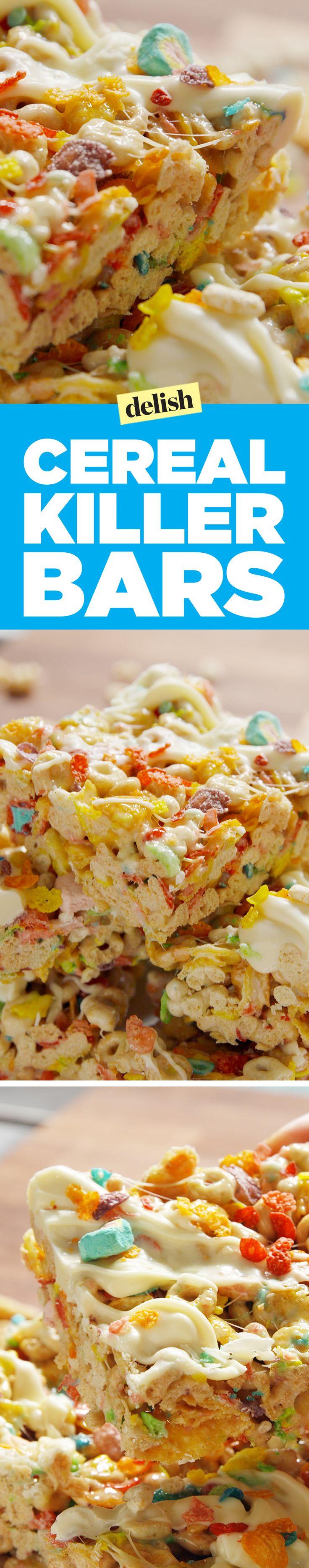 Cereal killer bars slay regular Rice Krispie treats. Get the recipe on Delish.com.