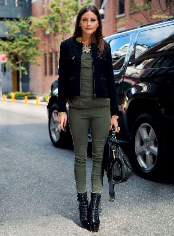 Olivia Palermo Khaki+black outfit