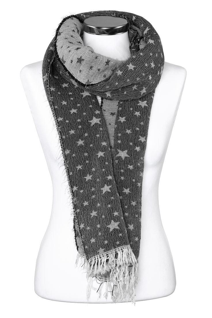 Damen Strickschal Sternen Fransen Schal Winterschal Feinstrick Made in Italy Neverless®