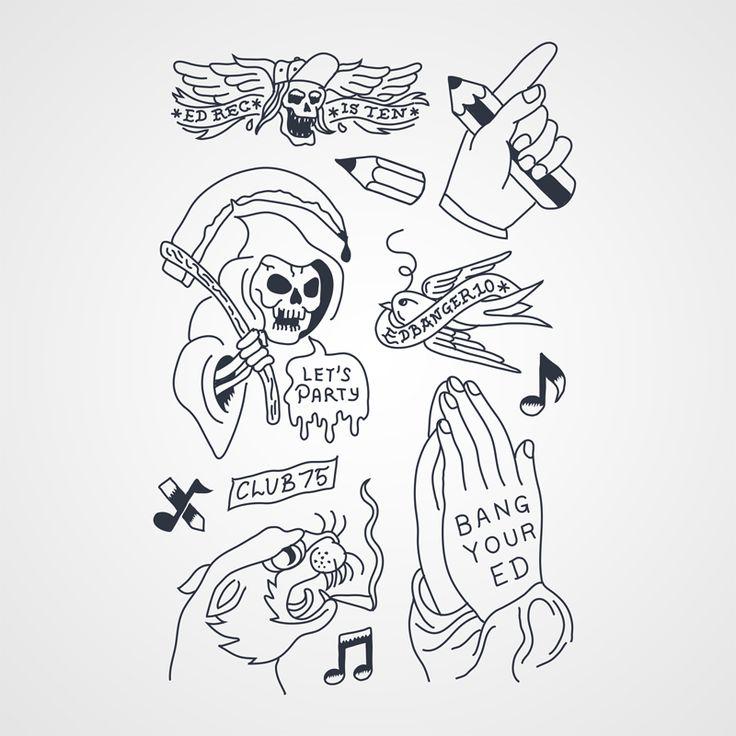 ed banger turns 10 est une planche de tattoos temporaire r alis par so me pour les 10 ans de ed. Black Bedroom Furniture Sets. Home Design Ideas