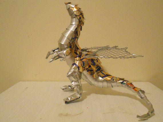 Orange Rearing Soda Can Dragon By Denofdragons On Etsy