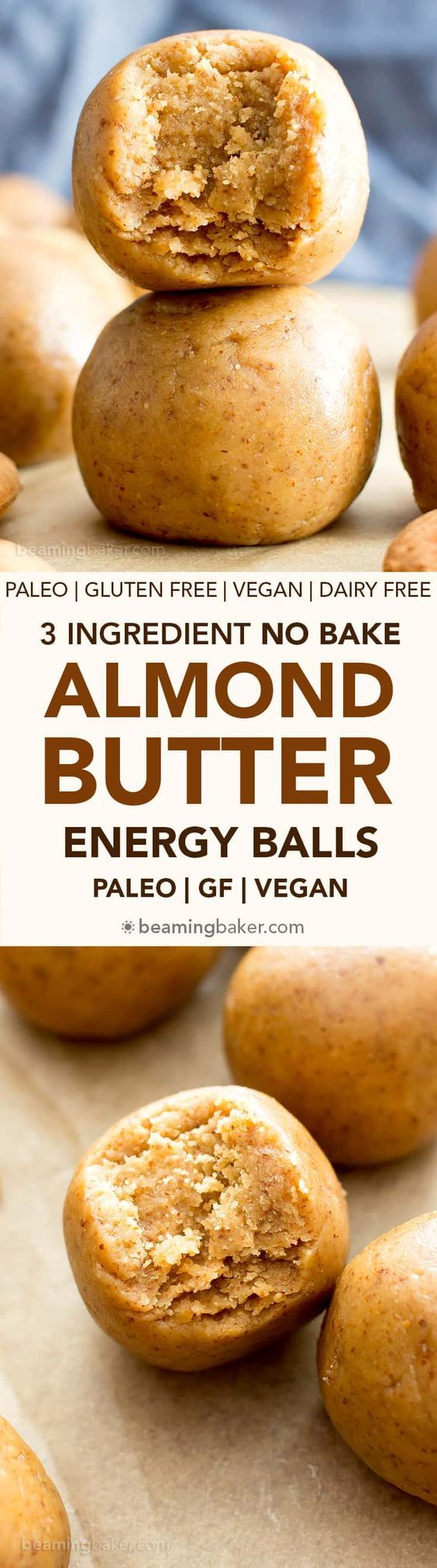 3 Ingredient No Bake Almond Butter Paleo Energy Balls (V, GF, DF): an easy recipe for perfectly sweet, seriously satisfying no bake paleo energy bites. #Vegan #Paleo #GlutenFree #DairyFree #Healthy #Snacks | Recipe on BeamingBaker.com