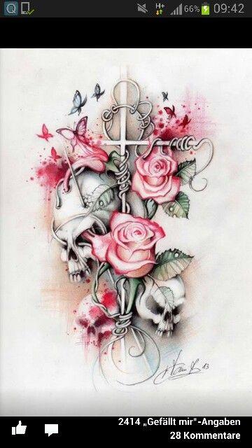#rose #kreuz #red | Tattoo | Tattoos, Skull tattoos und ...