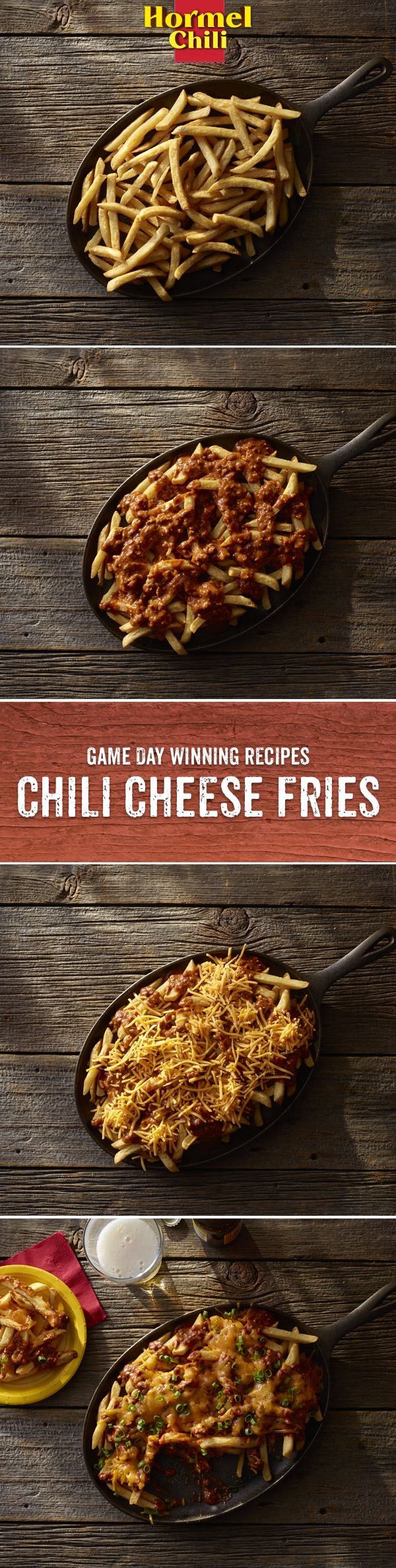 Chili Nation: Up your fan-hosting game using HORMEL® Chili-topped fries.   chili | chili recipes | easy chili recipes | chili cheese fries