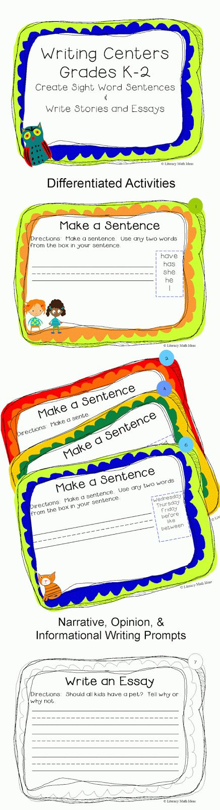 42 Differentiated Writing Activities-Choose from sight word sentence writing for new writers and narrative, opinion, and informational text writing prompts for more established writers. $