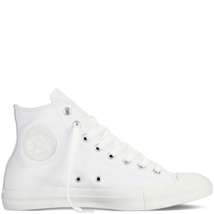 Chuck Taylor Leather white monochrome hi tops $70 size 9.5 womens