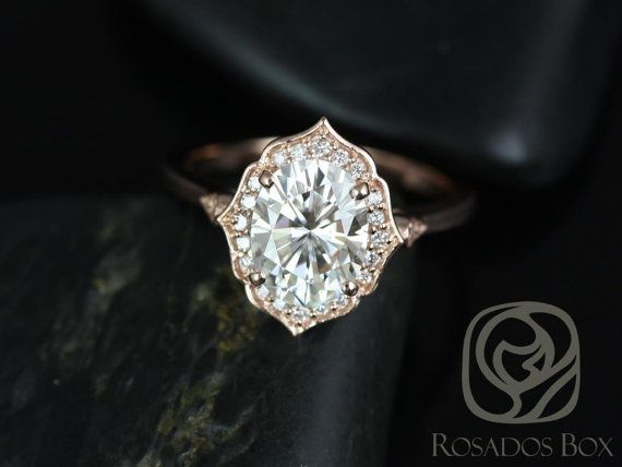 Mae 9x7mm 14kt Rose Gold Oval FB Moissanite and by RosadosBox