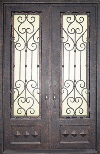 victorian style wrought iron door with iron grille