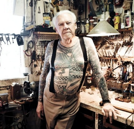 Lyle tuttle old man tattoo tattooed body old school for Tattoos when you get old
