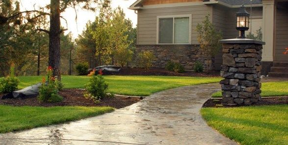 Stamped Concrete, Front Walkway, Pillar Light  Copper Creek Landscaping, Inc.  Mead, WA