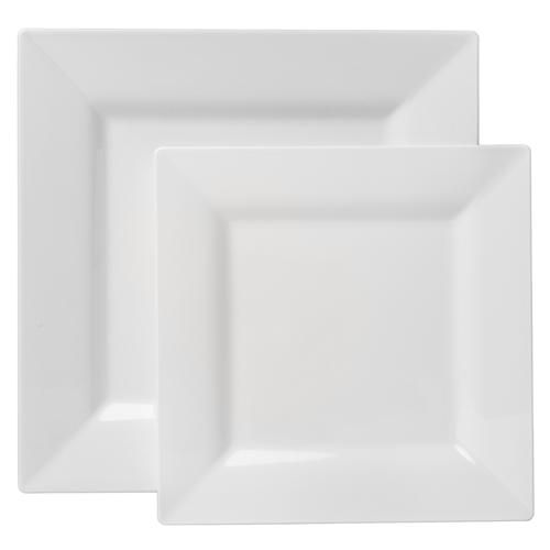 07919 Square White Plastic Dinnerware Value Pack